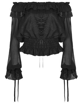 Details about Punk Rave Womens Gothic Gypsy Top Black Floral Steampunk Boho Medieval Peasant
