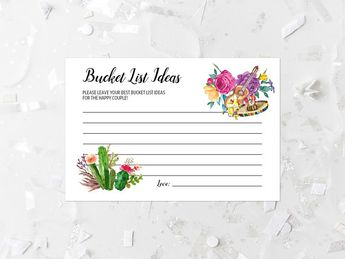 fiesta bucket list ideas card printable fiesta wedding shower advice card cactus bridal shower game shower