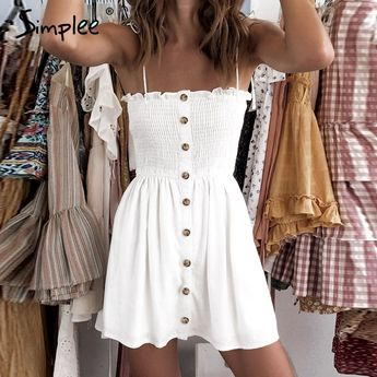 spaghetti strap buttons ruched dress NA01