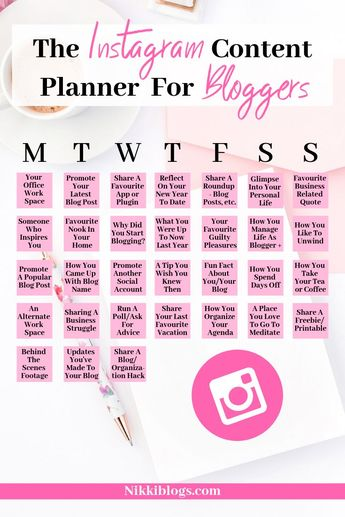 """Sooner or later, we've all been stuck on the same question: what the heck should I post on Instagram today? Do you have """"content creator's block""""? Here's the solution! Don't think about new ideas for 31 days with the Instagram Content Planner For Bloggers. Created by a full-time blogger for bloggers, this awesome guide has meaningful suggestions for posts to help you grow your Instagram following every day. Plus, signup for the mailing list and get the full-sized printable sent to your inbox!"""