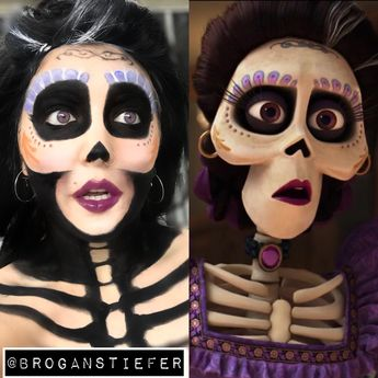 Mama Imelda from Coco!!! -Using water activated paints (Snazaroo) from Michaels and eyeshadow! perfect for a unique Halloween costume!!