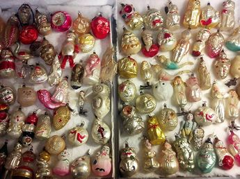 Collection of German, blown glass Christmas ornaments for sale at The Golden Glow of Christmas Past Convention