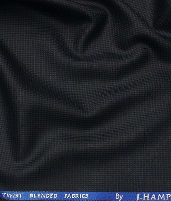 11030f406 J.Hamsptead by Siyaram s Dark Navy Blue Polyester Viscose Self Structured  Unstitched Suiting Fabric