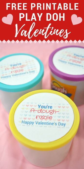 "With this ""You're A-dough-rable"" Play Doh Valentine printable you can turn a plain jar of playdough into a Valentine's Day gift that is perfect for kids to give their classmates or their teachers. #ValentinesDayGift #DIYValentine #ValentinePrintables #ValentinesDayIdeas #ValentinesForKids"