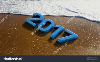 2017 Year on Sandy Beach with Sea Bubbles. 3D Rendering Illustration