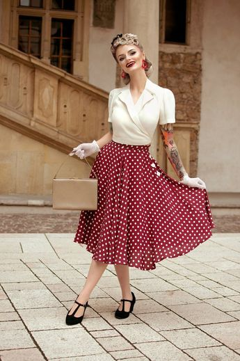 Isabelle Skirt in Wine Spot by The Seamstress of Bloomsbury | Authentic Vintage 1940's Style