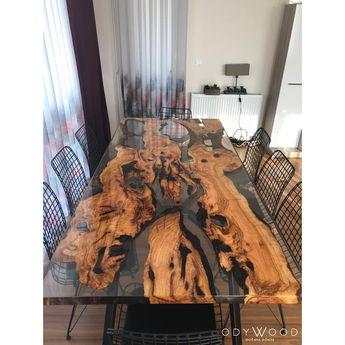 Live edge olive slab dining table with transparent epoxy - Custom