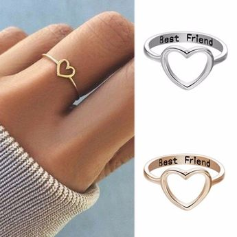 Details about Gold Silver Love Heart Ring Best Friend Friendship Rings BFF Women Jewelry Gifts