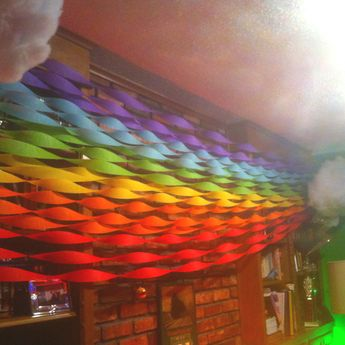 Crepe paper rainbow with fluff covered foam clouds and glitter lightening bolts. Rainbow Unicorn Party!