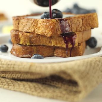 Healthy French Toast with Blueberry Maple Syrup