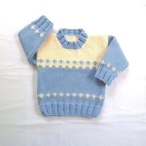 Baby Blue Sweater 6 To 12 Months Hand Knit Baby Clothe