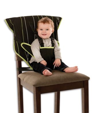 This portable fabric high chair makes traveling easy.