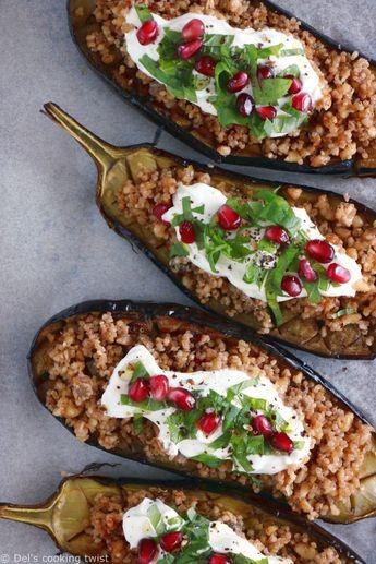 Aubergines farcies au quinoa et sauce au yaourt à la menthe (sans gluten)