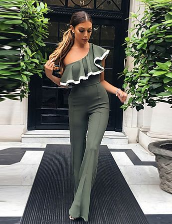 Women's Off Shoulder Ruffle Going out Street chic Boat Neck Gray Wine Army Green Wide Leg Jumpsuit, Solid Colored Backless M L XL High Rise Sleeveless Spring Summer / Slim