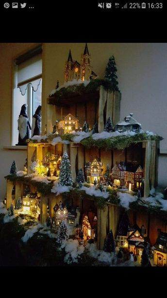 Wood crates used as a display case for a Christmas village... A must try...