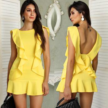 Ruffle Design Solid Backless Mini Dress