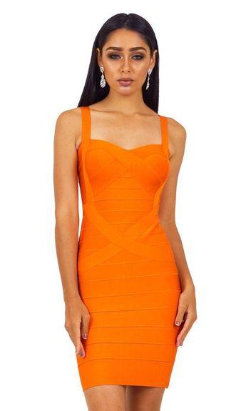 4f69e4073c9 Party Girl Bright Orange Sleeveless V Neck Bandage Bodycon Mini Dress