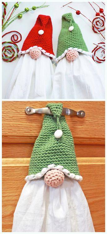 Christmas Gnome Towel Topper Crochet Free Pattern