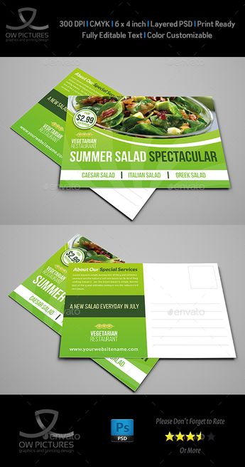 Postcard Description: Salad Restaurant Postcard Template was designed for exclusively corporate and small scale companies. Also it can be used for variety purposes. Click on preview image to see further details. I hope you like it guys. Postcard Feature:Fully layered PSD filesEasy customizable a