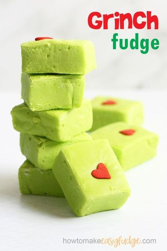 GRINCH FUDGE -- Only 4 ingredients in this fun fudge recipe for a Christmas classic. Microwave and sweetened condensed milk fudge. #thegrinch #grinchfudge #easyfudge #fudgerecipe #christmas #christmasfudge #microwavefudge #condensedmilkfudge #green #DrSeuss