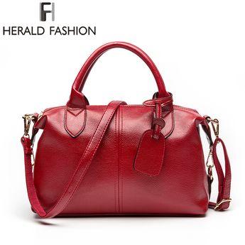 Herald Fashion Solid Women Pillow Handbag Soft PU Leather Women Top-Handle Bag  Tote Shoulder 8a20203c5d