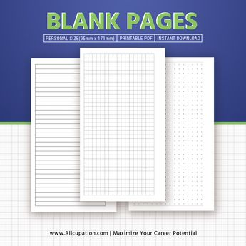 Printable Blank Pages, Planner Pages, Personal Size Inserts, Binder, Planner Design, Best Planner, Filofax Personal, Instant Download
