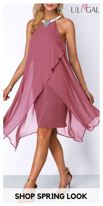 Rotating and dancing in the spring with this beautiful sleeveless chiffon overlay asymmetrical dusty pink dress, that's what I dreaming of. Click to find the 2019 spring #dresses trends at #liligal, #freeshipping worldwide and easy returns, #coupons $6 off over $60, $9 off over $90, code: liligal2019.