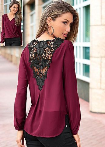Backless Lace Patchwork V-neck Long Sleeves Chiffon Blouse - Meet Yours Fashion - 1