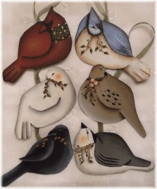 "Six Cottage Folk Art BIRDS ORNAMENTS GIFT TAGS DECORATIONS DAPM by ""Donna Atkins"""
