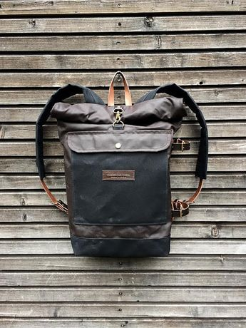 Waxed canvas backpack with detachable leather side straps and padded laptop  compartment   padded shoulder straps 6efda17e2d534