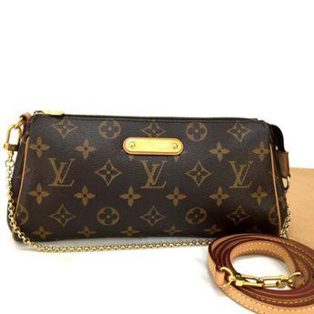 887b34b0bc6f9 Details about Louis Vuitton Chain Hand Shoulder Bag Eva Brown Monogram Used
