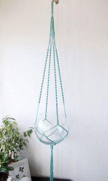 Modern Macrame plant hanger-MANY COLORS-boho indoor plant holder-Hanging Planter-Bohemian macrame- b