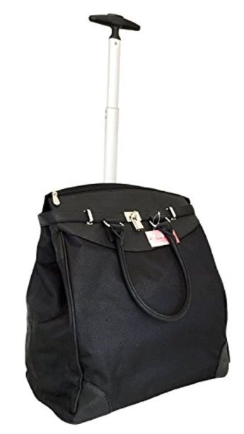 Trendy Flyer Computer Laptop Rolling Bag 2 Wheel Case Plain Black - Brought  to you cb0ab3fe37317