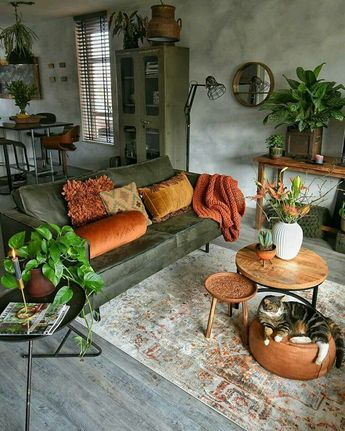 Greenery doesn't just have to be about the plants: incorporate via soft furnishings too #livingroom #green #MidCentury #botanicals