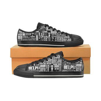 bdc372483d62d GROOM Gift Wedding Sneakers Mens Fun Print by Juleez Men s Classic Canvas  Shoes (Model 018
