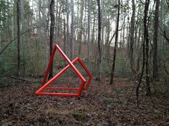 TMLB Sculpture : Structure in the woods 10 ft. x 10 ft. x 7.5 ft. : enamel on wood Collaboration with Drew Tyndell and Ben Niznik : Wileska GA