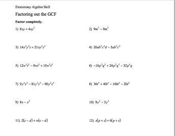 Factoring Polynomials Gcf