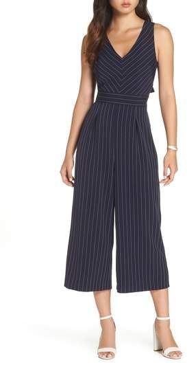 1901 Pinstripe Tie Back Crop Jumpsuit