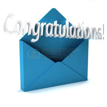 3D Congratulations Letter word coming out of an envelope Stock Photo