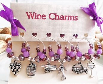 wine bridal shower favors 6 wine charms wine theme bridal shower purple wine