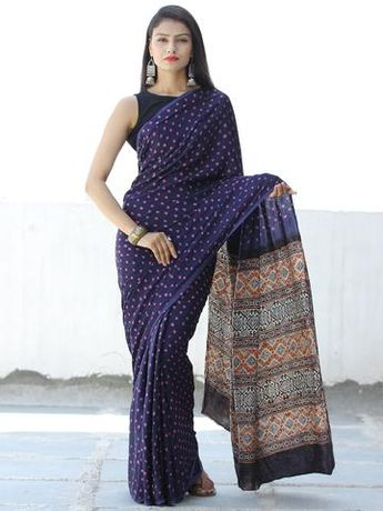 205b59703c2d3 Indigo Pink Black Rust Bandhej Modal Silk Saree With Ajrakh Printed Pallu    Blouse - S031703872