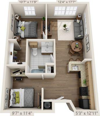 Maison avec 2 chambres