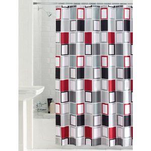 Mainstays Aperture Fabric Shower Curtain Pretty Dark Gray Light Red White