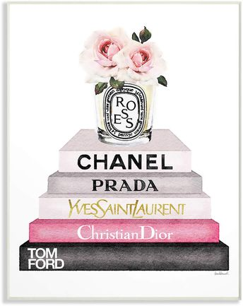 Stupell Book Stack Fashion Candle Pink Rose By Amanda Greenwood
