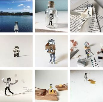 "Doro Ottermann | Illustrator based in Hamburg | Photo-Illustrations with ""Tinydoro"", her paper alter ego."