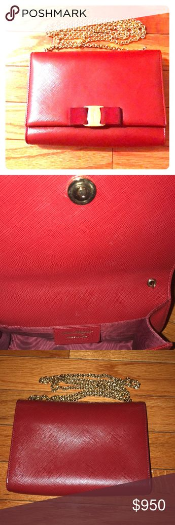 3d9dcd9f605 Salvatore ferragamo women vara bow flap bag red Lightly used. Small stain  inside bag.