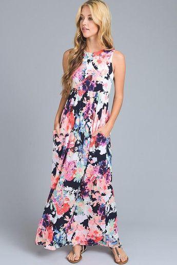 de0cd63de41 Girls  Black Floral Maxi Dress With pockets! 95% polyester