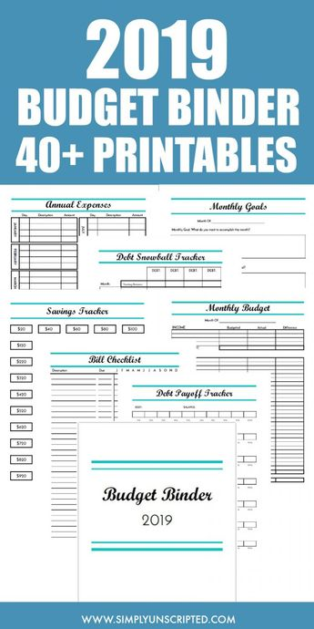 This 2019 Budget Binder is simple enough for beginners to financial planning. It includes over 40 pages of printables and templates to organize your financial life. Use these printables to start saving money, track your monthly budget, and pay off debt.