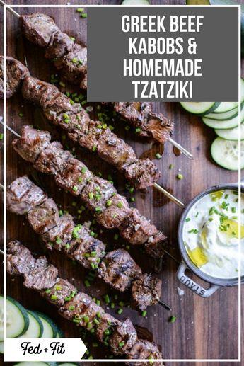 Greek Beef Kabobs & Homemade Tzatziki