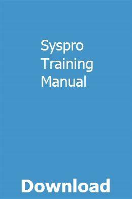 Syspro Training Manual